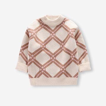Camisola de impressão geométrica infantil para 4-11A
