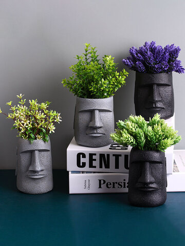 1PC Abstract Human Head Flower Pots Creative Sculpture Desktop Decoration Ornament Flower Arrangement Figurines Artware
