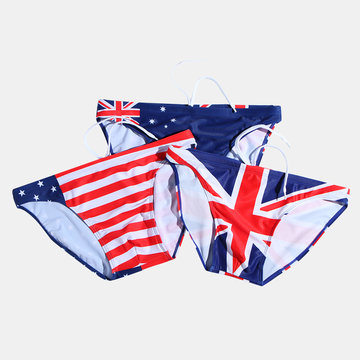 Multi Country Flags Print Swimwear
