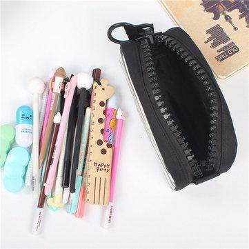 Students Canvas Durable Pencil Case Casual Big Zipper Pen Pouch Storage Bag