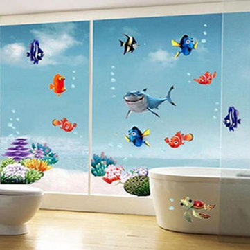 Colorful Underwater World Wall Sticker Living Room Creative Decal