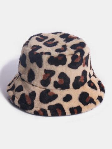 Women Rabbit Fur Leopard Pattern Casual Warm All-match Bucket Hat