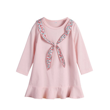 Girls Crew Neck Dress For 1Y-9Y