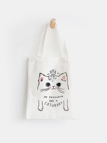 Cute Cat Prints Canvas Shoulder Bag Casual Bag