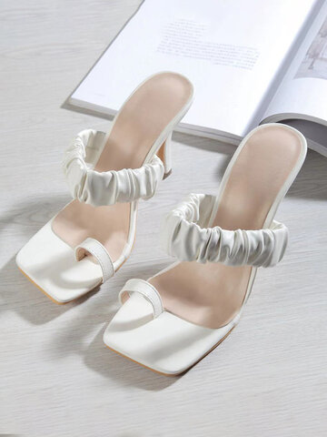 Sweet Square Clip Toe High Heel Slippers