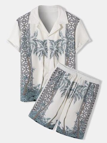 Tropical Pattern Revere Collar Outfits