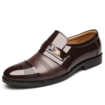 Uomo Scarpe Oxford Slip-On di Stile Formale Business a Punta