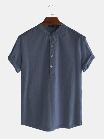 Cotton Linen Retro Solid Henley Shirt