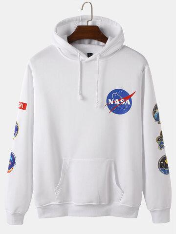 Space Letter American Flag Print Hoodies