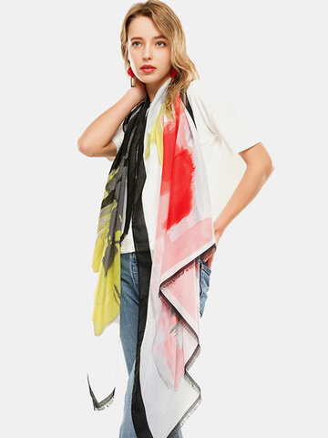 Multicolor Ethnic Scarf Satin Tie Dye Thin Scarf