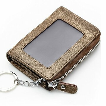 Women Men Genuine Leather Short Wallet Zipper Coin Bags Card Holder Key Bags