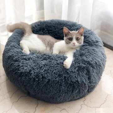 Long Plush Super Soft Pet Round Bed Kennel