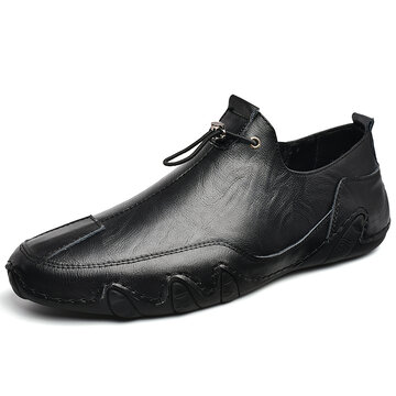 Men Genuine Leather Non Slip Casual Driving Shoes