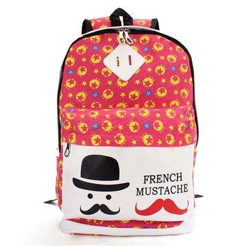 New Flower Print Convas Backpack Cute Cartoon School Bag Sat