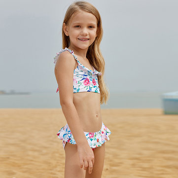 Cute Frill Girls Bikini For 2-15Y