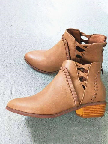 Hollow Out Zipper Chunky Heel Ankle Boots