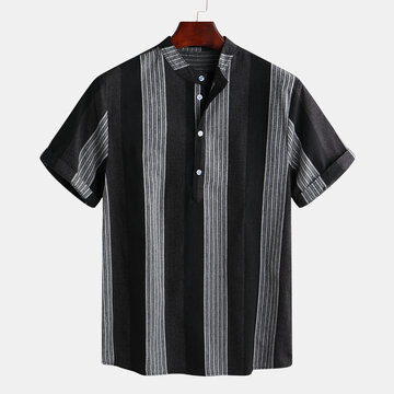Stripe Patchwork Short Sleeve Henley Shirts