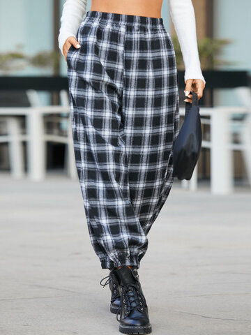 Plaid Print Loose Casual Pants