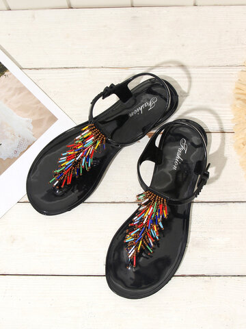 Jelly Shoes Colorful Beaded Tassel Sandals