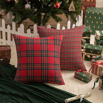 1Pc Christmas Plaid Pillowcase Simple Geometric Pattern Pillowcase Sofa Cushion Cover