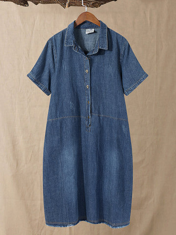 Denim Casual Shirt Dress