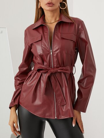 Solid Color Knotted Jacket