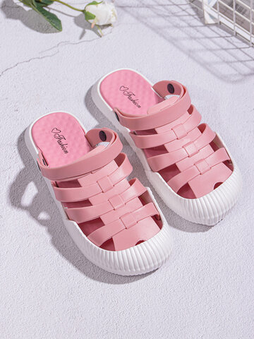 Summer Closed Toe Cut Out Water Shoes Beach Sandals