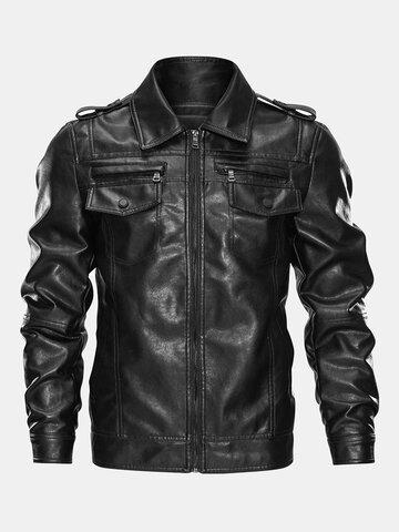 Plus Velvet Zipper Stylish Biker Jacket