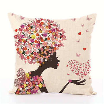 Fairy Tales Flower Style Printed Pillow Cover Butterfly Girls Pillow Case house Bed Hotel Decorative, White