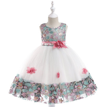Floral Embroidery Girls Dress For 4Y-11Y