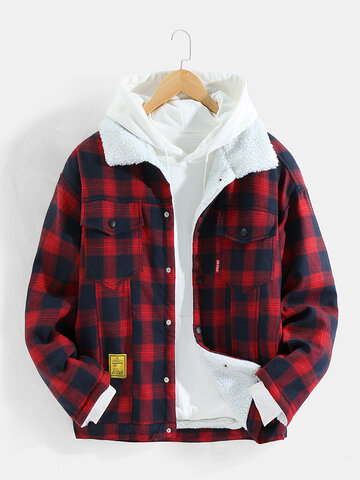 Plaid Sherpa Lined Thick Jackets