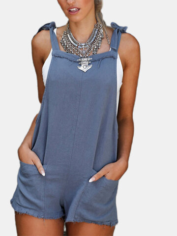 Pure Color Rompers For Women