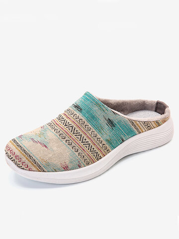 Printing Canvas Slip Resistant Flat Backless Shoes