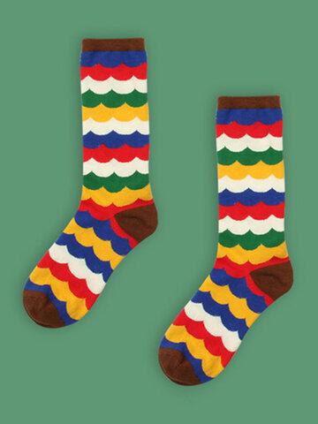 Vente chaude Impression de chaussettes de tube moyen en coton chaud