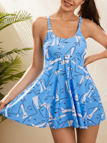 Abstract Face Print Strappy Swimdress