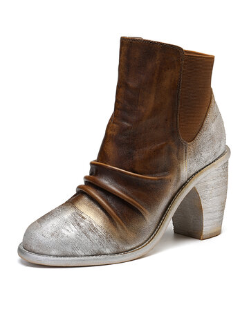 Metallic Color Splicing Leather Boots