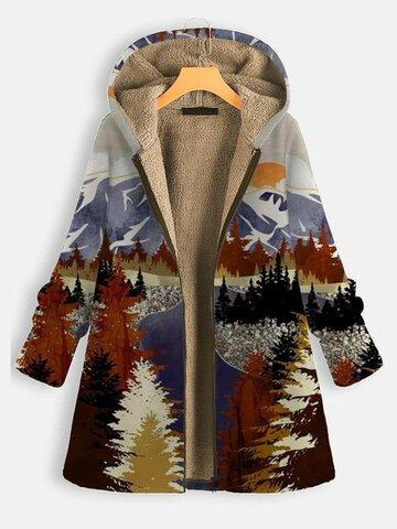 معطف سميك مطبوع عليه منظر طبيعي