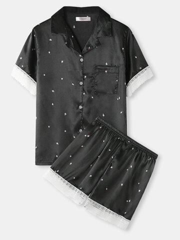 Flower Print Lace Pajama Sets