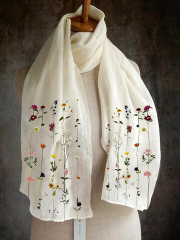 Women Solid Color Printing Pattern  Linen Long Scarf
