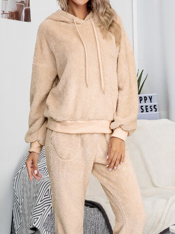 Double Fleece Home Hooded Pajamas Set