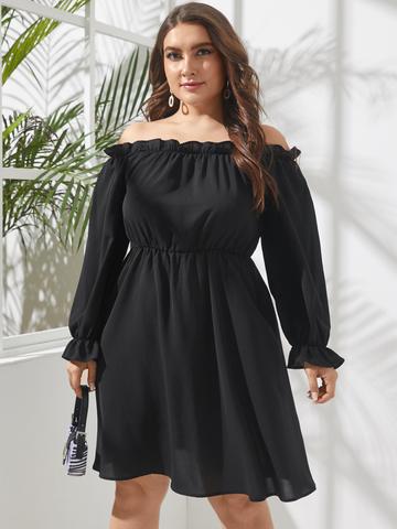 Casual Ruffle Black Dress