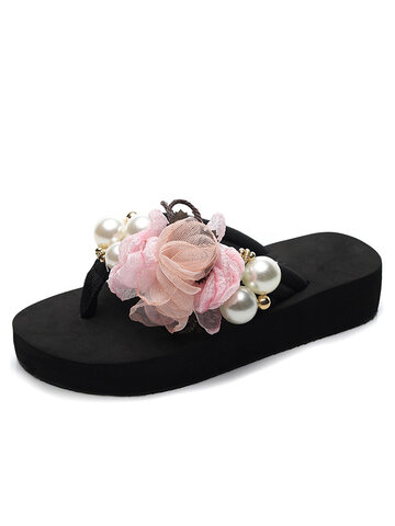 Flowers Decor Pearl Soft Bottom Casual Flat Slippers