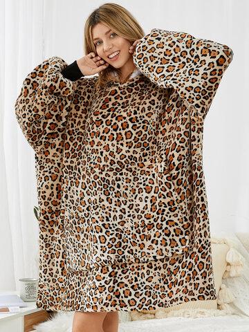 Leopard Flannel Wearable Blanket Oversized Hoodie