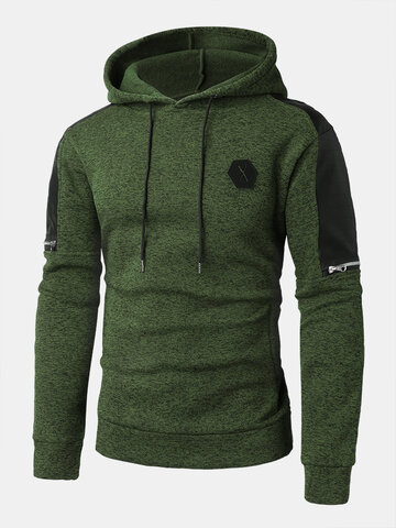 PU Leather Stitching Zipper Design Hoodies