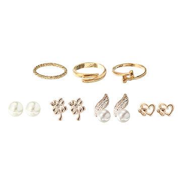 Gold Rings Pearls Earrings Set