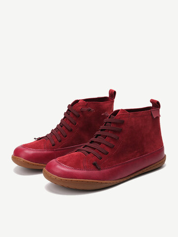 Women Suede High Top Splicing Casual Boots