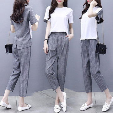New Women's Clothing Two-piece Pants Linen Short-sleeved Shirt Cropped Pants Casual Fashion Suit Female Stripes