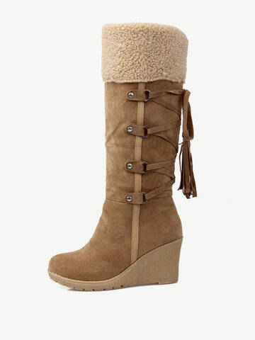 Large Size Suede Tassel Knee Boots