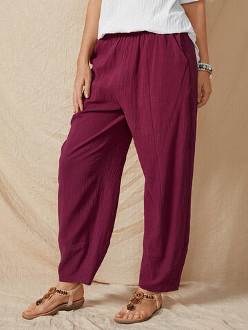 Solid Elastic Waist Casual Pants
