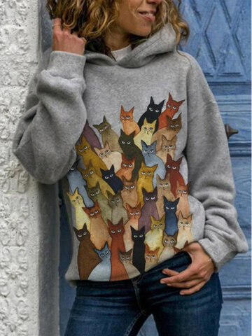 newchic / Cartoon Cats Print Casual Hoodie
